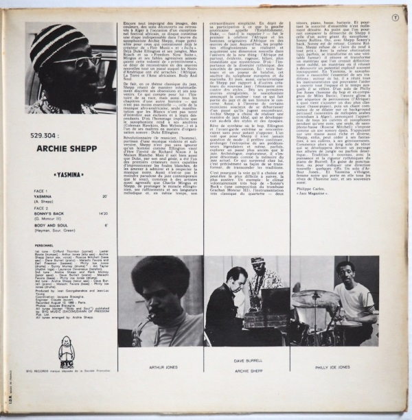 archie shepp yasmina a black woman inside cover 2